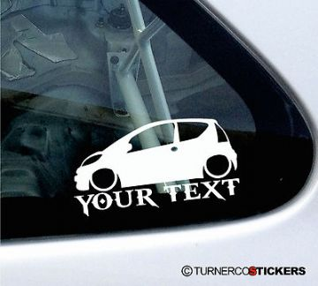 Custom Text / Name ,LOW Peugeot 107 1.4 HDi outline Sticker / Decal